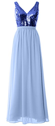 MACloth Women Straps V Neck Sequin Maxi Bridesmaid Dress 2017 Simple Prom Gown Royal Blue-Sky Blue mePpwV