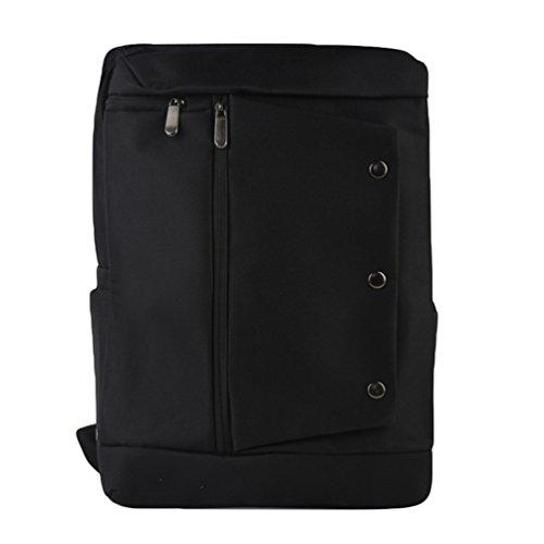 ZKOO Mujer Hombre Lona Escolar Mochilas Negocios Portátiles Mochila Backpack Mochila de Viaje Bolsa De Hombro Negro