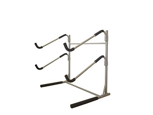 Sparehand Freestanding Dual Storage Rack for 2 SUPs or Surfboards, Tools-Free Assembly, Pebble Silver -