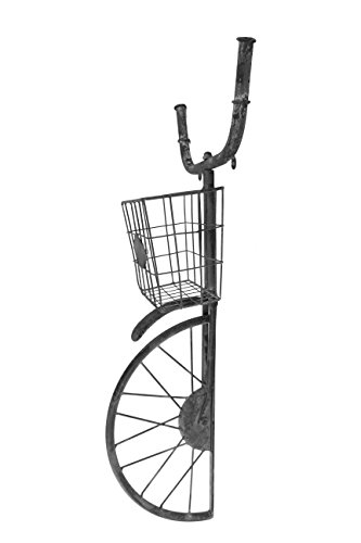 - Red Co. Industrial Style Front Bike Basket Wall Shelf Décor and Planter