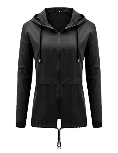 Uniboutique Womens Waterproof Raincoat Lightweight Hooded Outdoor Rain Jacket Black - Hooded Bench Jacket