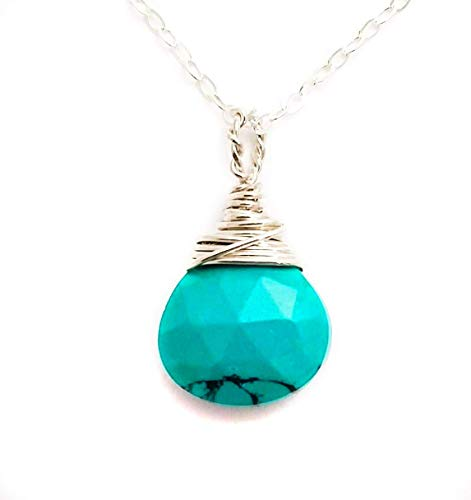 Turquoise December Birthstone .925 Sterling Silver Necklace 18 Inches Length Gift for Women ()