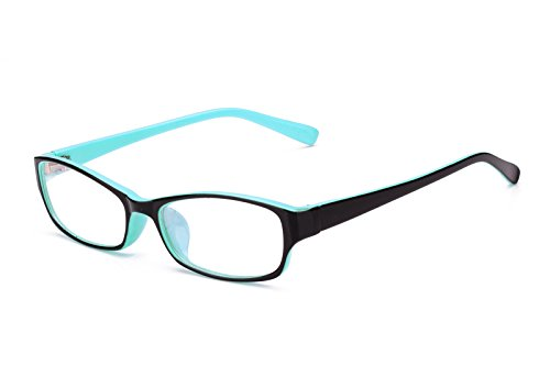 Agstum Kids Classic Rectangle Optical Frame Girls Boys Glasses Clear Lens (Black / Blue)