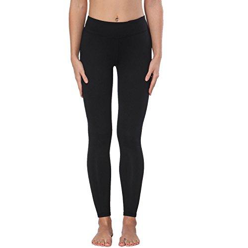 Yoga Pants, FEIVO Women's Power Flex Yoga Pants Tummy Control Workout Yoga Capris Pants Leggings,Basic-black,Medium