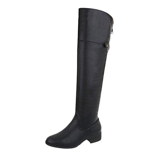 Ital-Design Zapatos Para Mujer Botas Tacón Ancho Mosqueteras Negro A-21