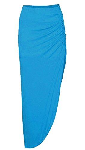 Jupe Divis C Ruched En De Turquoise Jersey Stretchy Simple Maxi Viscose Femmes t Style vgnRRz6