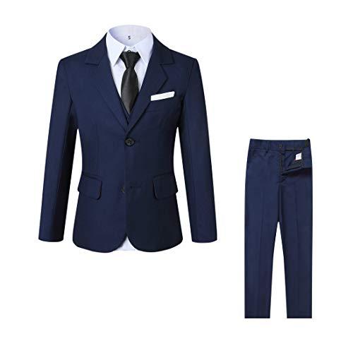 (kretenier Boys Formal Slim Fit Suits Set-5 Piece Navy Dresswear Suit for Boys(Black Necktie,12))