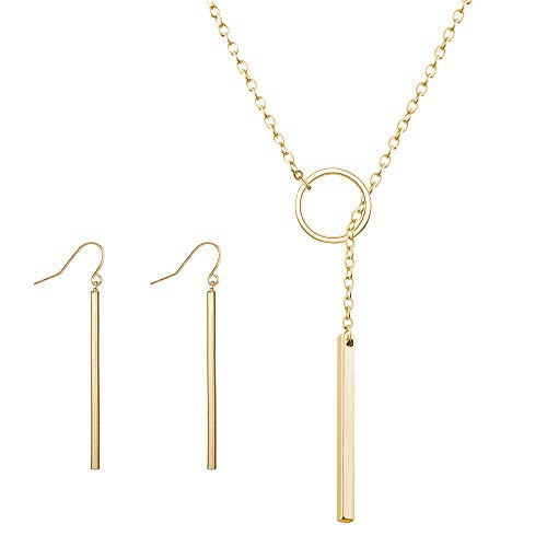 (CHOA Dainty 2 Layered Necklaces, Long Lariat Y Pendant Necklace for Women Girls (H:Gold Set))