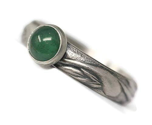 Size 7 Round 6 mm Green Aventurine Sterling Silver Art Nouveau Style Band Antique Finish