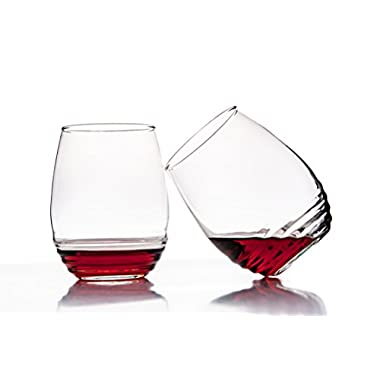 Set of 4 - All Purpose Stemless Wine Glasses -17 Ounce -gift idea- best used for red wine - Eco Friendly made glass