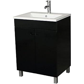Sliverylake 24 bathroom vanity combo modern black stand - Bathroom vessel sink vanity combo ...