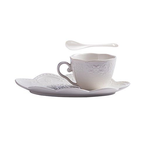 WAIT FLY Lovely Embossed Ceramic Cups And Dishes/ Dim Sum Dishes/ Afternoon Tea Breakfast Combination (Afternoon Tea Plate)