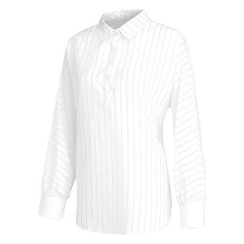 Appliqued Polyester State Flags - FengGa Women's Loose Shirt Fashion Striped Solid Color Button Lapel V Neck Long Sleeve Casual Top Blouse T-Shirt White