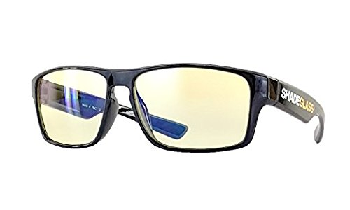 5-Star Anti Glare Computer Glasses for Screen Reading, Gaming and Office. Reduce Eyestrain with Blue UV Light Blocking Lenses in a Super Light Polymer Frame for Men (No Zoom +0.00) - Eye Usa Glasses