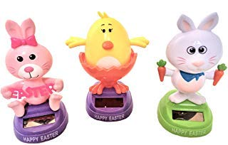 Easter Solar Powered Dancing Bunny ( Male , Female) and Chick 3 PCE Set