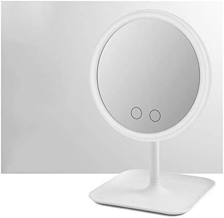 メイクアップミラーライトアップバニティ3/5色モード1X拡大鏡90度回転脱着式カウンターサークル化粧鏡 (Color : Whi