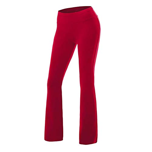 - COLO Women's High Waist Yoga Flare Bootleg Pant Workout Fitted Athletic Bootcut Pants Red(S)