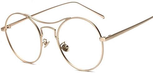 cceef91bd1 Rotondo Montatura Occhiali in Metallo Occhiali da Vista, Alxcio Retrò  Aviatore Occhiali Decorazione con Lenti Trasparenti Per Unisex Uomo Donna,  Oro