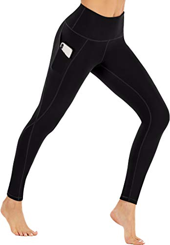 Ewedoos Yoga Pants with Pockets for Women, High Waist Leggings with Pockets Tummy Control Workout Running Pants (Ew380 Black, Large)