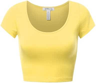 FPT Womens Basic Short Sleeve Scoopneck Crop Top