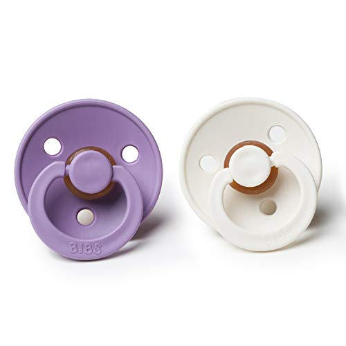 BIBS BPA-Free Natural Rubber Baby Pacifier   Made in Denmark (Lavender/Ivory, 0-6 Months) 2-Pack
