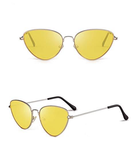 Súper de Gafas Sol Hombre Vintage Mujer de de Sol Espejo A Gafas UV400 Eye Cat Unisex Sol Lente para Polarizadas Amarillo Ligero Gafas Gafas Estuche Retro Fliegend xpZaqHy