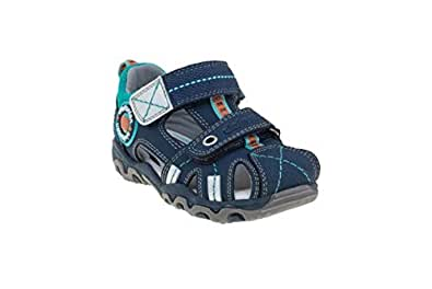 elefanten Boys - Toddler Closed Toe Terrain Sandals with High Quality Leather, Protection and Comfort - Size 5 AU - Blue, Green, Orange