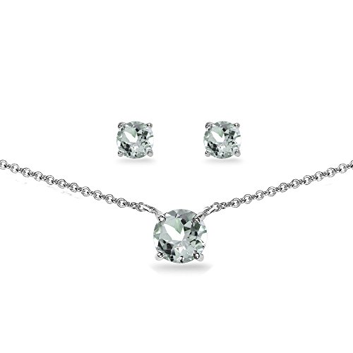 GemStar USA Sterling Silver Aquamarine Round Solitaire Choker Necklace and Stud Earrings Set