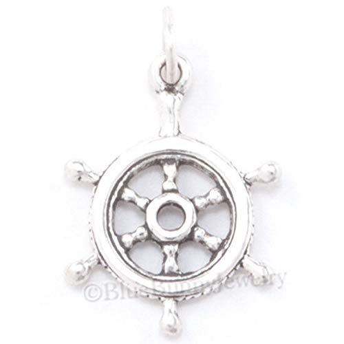 Captains Wheel Charm Ship Sail Boat Pirate Pendant Sterling Silver Nautical 3D DIY Crafting by Wholesale Charms