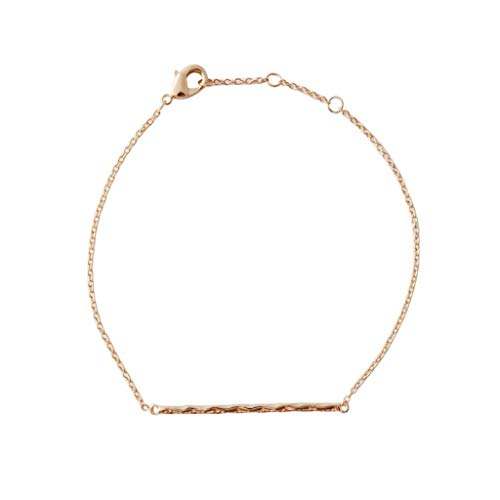 HONEYCAT Hammered Classic Bar Bracelet in 24k Gold Plate, 18k Rose Gold Plate, or Silver | Minimalist, Delicate Jewelry (Rose Gold)