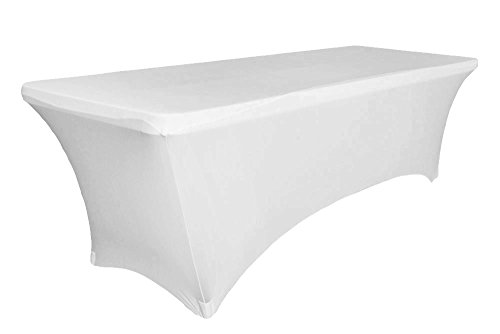 Kitchen Rectangular Table - 6 ft White Rectangular Linen Tablecloth - Spandex Fitted Table Cover for DJ Table Covers, Wedding Tablecloths, Rectangle Massage Table Cloths, Kitchen Table - Stretch Rectangular Tablecloth