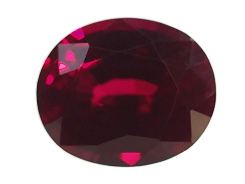Synthetic Ruby Oval Faceted 12mm X 10mm