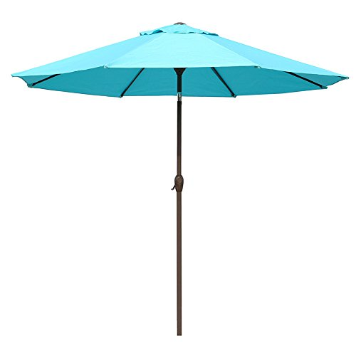 Le Papillon 9 ft Outdoor Patio Umbrella Aluminum Table Market Umbrella Crank Lift Push Button Tilt, Blue - Outdoor Chair Umbrella