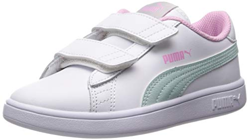 (PUMA Girls' Smash V2 Velcro Sneaker, White-fair Aqua-Pale Pink, 3 M US Little Kid)
