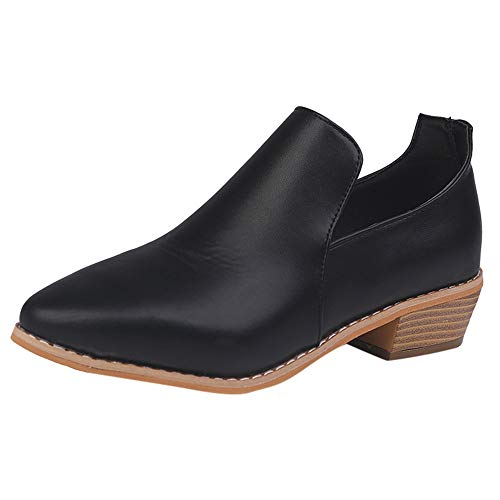 TnaIolral Women Shoes Leather Ankle Roman Short Boots Bootie Black
