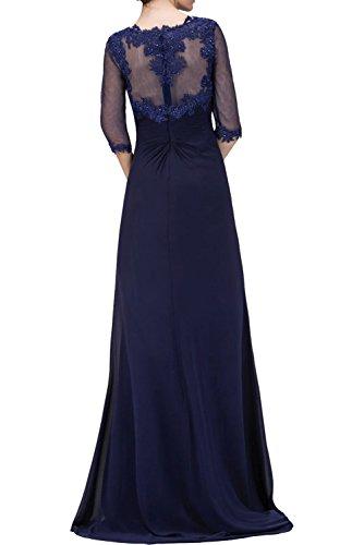 Blau Abendkleider Navy mit mit Braut Ballkleider Brautmutterkleider La Fuchsia Spitze Langarm Langes mia ZqSfxwt