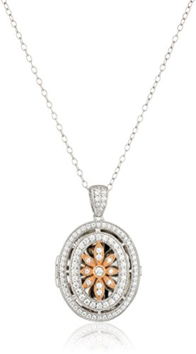 925 Sterling Silver and Rose Gold AAA Cubic Zirconia Cut-Out Pendant Locket Necklace, 18