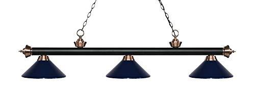 - Z-Lite 200-3MB+AC-MNB 3 Billiard Light, Matte Black & Antique Copper