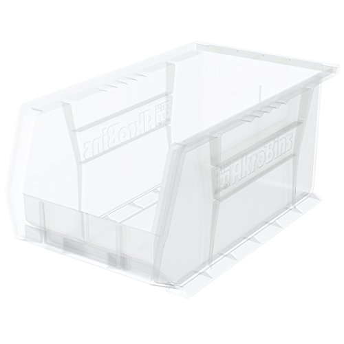 Akro-Mils 30240 Plastic Storage Stacking AkroBin, 15-Inch by 8-Inch by 7-Inch, Clear, Case of ()