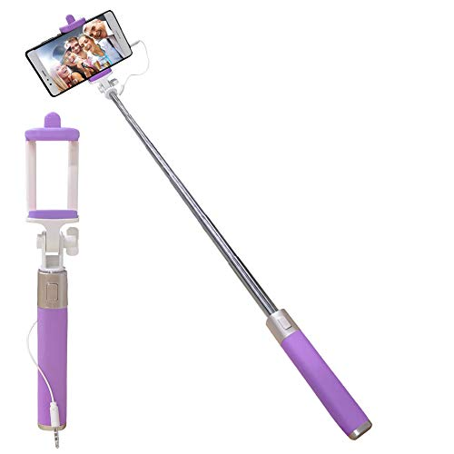 Universal Wired Selfie Stick for iPhone Samsung Galaxy Huawei LG Xiaomi Redmi Google Pixel OnePlus ZTE Motorola, Aeeque Silicone Handle Mini Selfie Stick with Button [NOT Bluetooth Control], Purple