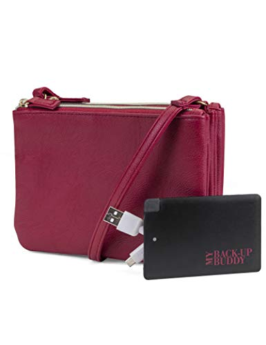 Mundi Protect & Connect RFID Blocking Womens Crossbody Bag Wallet With Bonus Portable Charger ((Red))