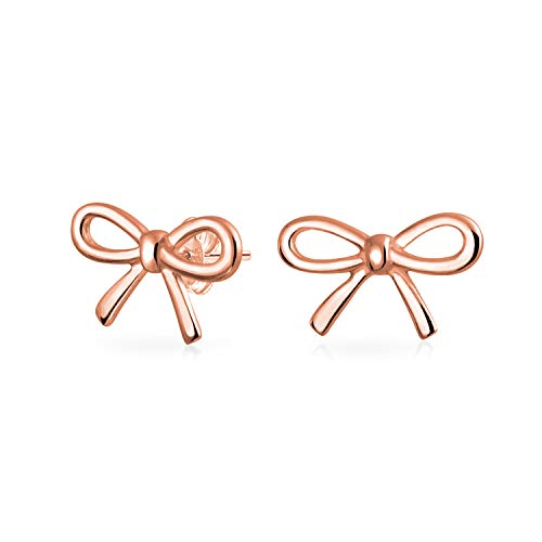 (Thin Dainty Tiny Ribbon Bow Birthday Present Knot Stud Petite Earrings For Women Rose Gold Plated 925 Sterling Silver)