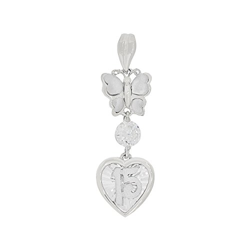 14k Gold White Rhodium, 15 Anos Heart Butterfly Quinceanera Pendant Charm Created CZ