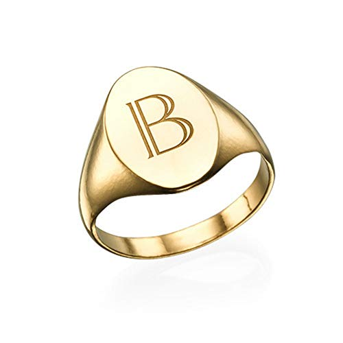 (DARUIRONG 925 Sterling Silver Personalized Ring,Initial Signet Ring,Engraving Customized with Any Initials(Gold))