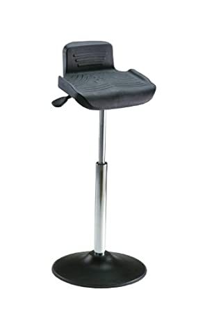 """Milagon Tasq WS4211TPU Polyurethane Workseat on Enamel Disc Base Standing Support with Edging, 26""""-34"""" Adjustment Height, 15-1/2"""" Width x 14"""" Depth Seat Dimension"""