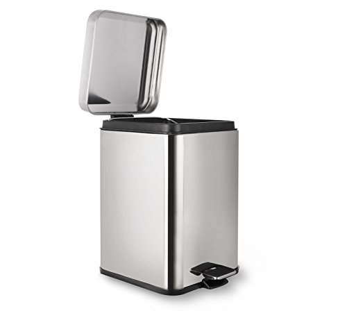 AMG and Enchante Accessories, Rectangular Waste Bin, 5L Garbage Trash Can with Step Foot Pedal, WB05 CHR, Polished Chrome ()
