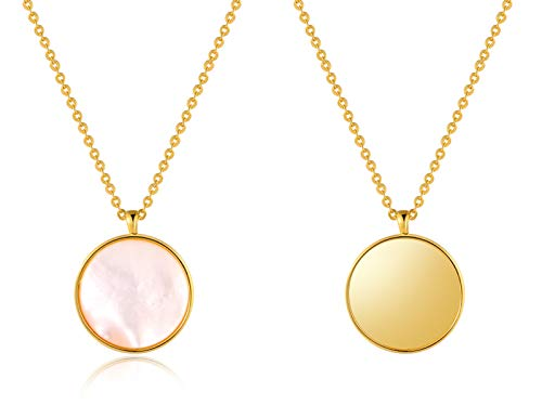 It's a circle Reversible Mother of Pearl Round Disc Double Sided Pendant Necklace 14K Gold Plated Sterling Silver Gift