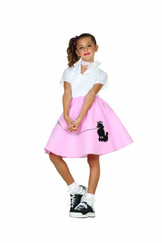 RG Costumes Pink Poodle Skirt, Child Large/Size 12-14 (50s Pink Poodle Girls Costume)