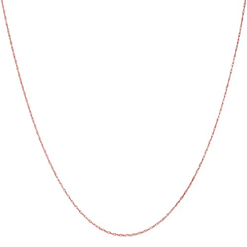 Solid 14k Rose Gold 0.8mm Rope Chain (18 inch) (Womens 14k Gold Rope Chain)