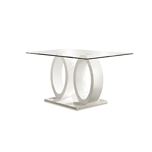Furniture of America Quezon Glass Top Double Pedestal Dining Table, White